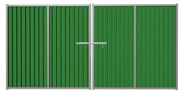 Ворота распашные из профлиста зеленые