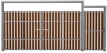 Ворота распашные с калиткой из евроштакетника шоколад