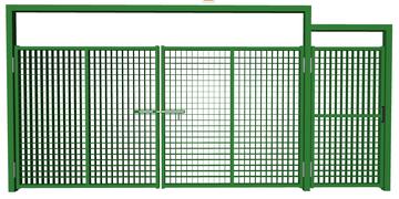 Ворота распашные с калиткой из сетки гиттер зеленые