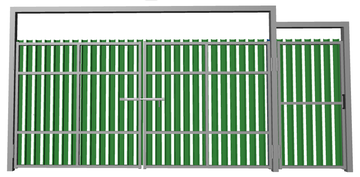 Ворота распашные с калиткой из евроштакетника зеленые