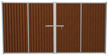 Ворота распашные из профлиста шоколадные