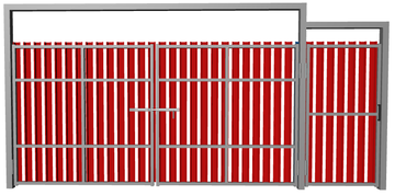 Ворота распашные с калиткой из евроштакетника красные