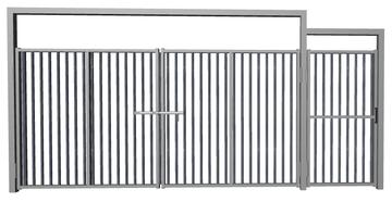 Ворота распашные с калиткой из решетки сталь