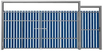 Ворота распашные с калиткой из евроштакетника синие