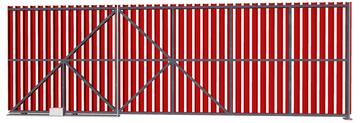 Ворота откатные из евроштакетника красные