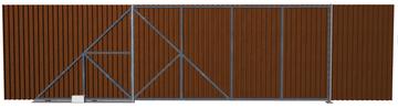 Ворота откатные из профлиста шоколадные