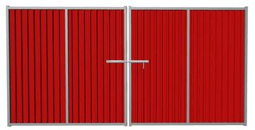 Ворота распашные из профлиста красные