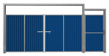 Ворота распашные с калиткой из профлиста синие