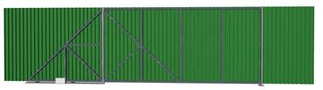 Ворота откатные из профлиста зеленые