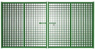 Ворота распашные из сетки гиттер зеленые