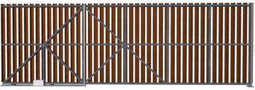 Ворота откатные из евроштакетника шоколадные