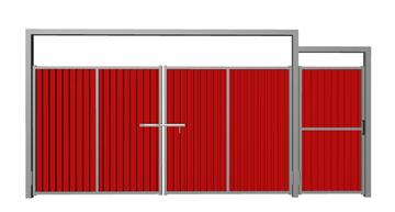 Ворота распашные с калиткой из профлиста красные