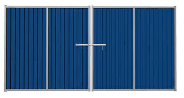 Ворота распашные из профлиста синие