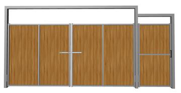 Ворота распашные с калиткой из дерева