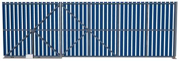 Ворота откатные из евроштакетника синие