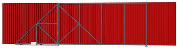 Ворота откатные из профлиста красные