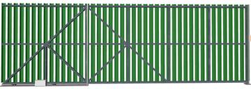 Ворота откатные из евроштакетника зеленые