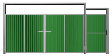 Ворота распашные с калиткой из профлиста зеленые