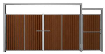 Ворота распашные с калиткой из профлиста шоколад